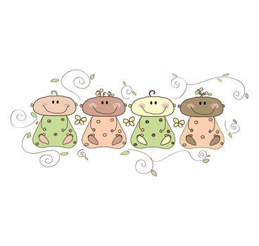 Four cute little babies.