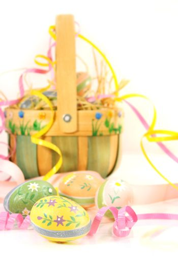 Easter basket and eggs ready for Easter festivities