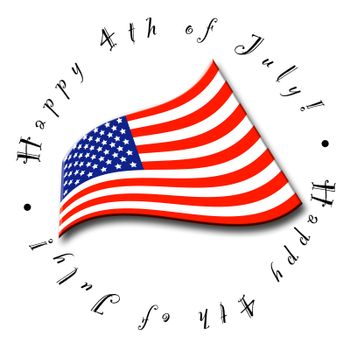 A button or icon for the Fourth of July - perfect for a calendar