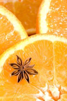 Juicy oranges texture with anice