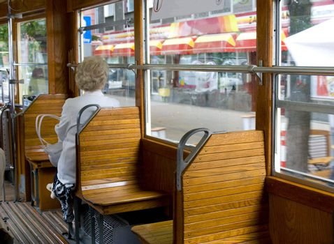 city travel in old tramcar