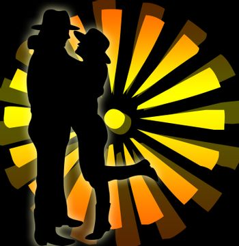 Silhouette of a woman and a man with hat