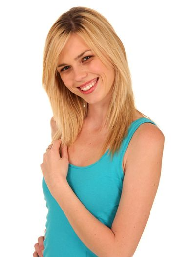 Portrait of a beautiful young lady with blonde hair a gorgeous smile