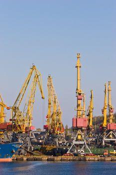 transportation series: cargo port with crane and ship