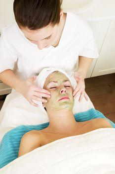 Aloe Vera facial preparation at a beauty spa.