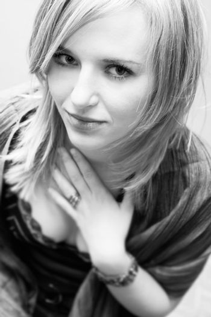 Smiling beautiful woman. Black and white photo.