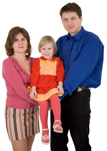 Man and woman hold child on a white background