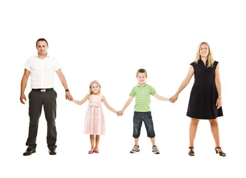 Family isolated on white background