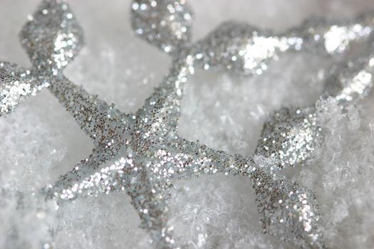 Beautiful shiny christmas stars in snow