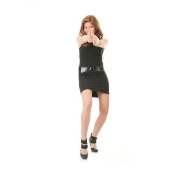 Catwalk fashion model posing isolated over a white background