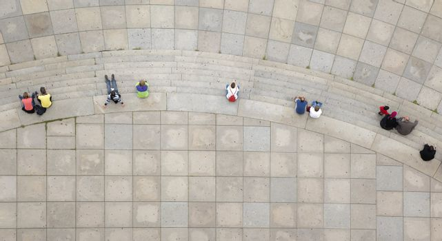 A photography of some people from above
