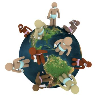Babies of different skin colors standing around the Earth, representing population growth