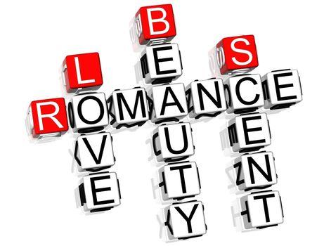 3D Romance Crossword text on white background