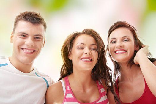 Happy three people