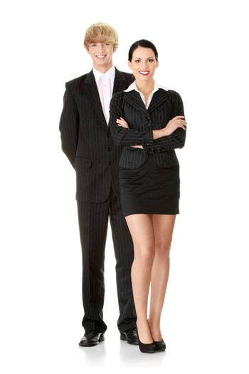 Young attractive business people isolated on white