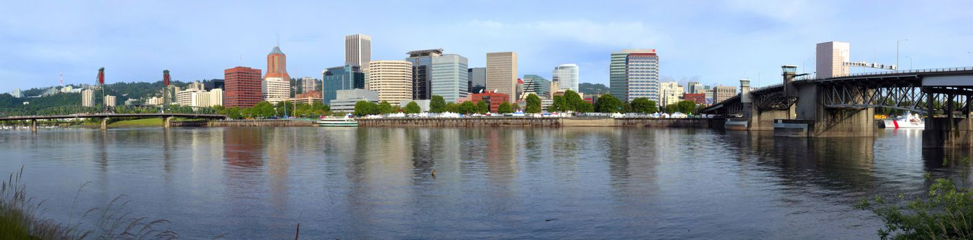 Portland Oregon during the preparation for the annual Rose festival celebrations.