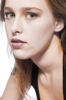 Studio portrait of a beautyful model looking surprised