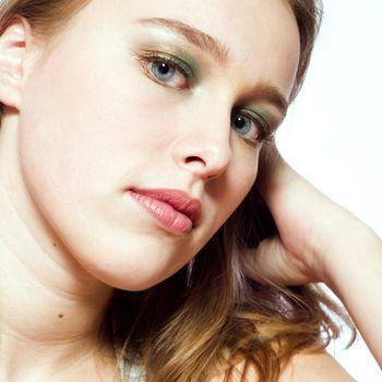 Studio portrait of a beautyful model thinking