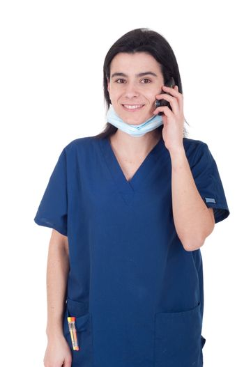 smiling female doctor in uniform talking on the phone (isolated on white background)
