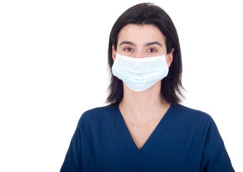 portrait of a young female doctor wearing mask isolated on white background