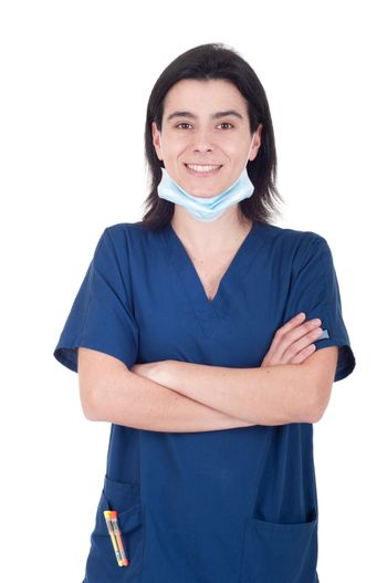 portrait of a smiling female doctor wearing mask isolated on white background