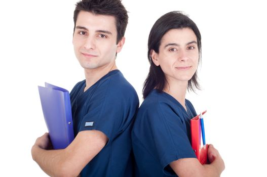 friendly team of doctors holding folders isolated on white background (back to back)