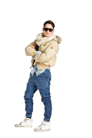 photo of young man wearing winte clothes on white background