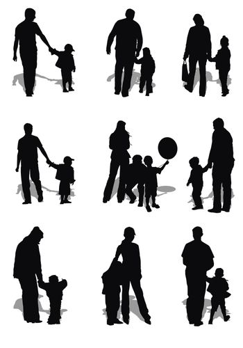 isolated kids and parents (men and women) on white background with shadows