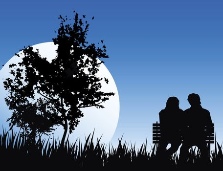love concept on nature backround with big moon