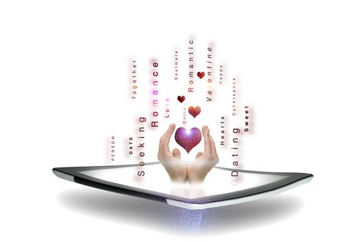Conceptual image of online dating and romance with a mans hands cupping a heart above a tablet screen surrounded by streaming text pertaining to courtship on a white background