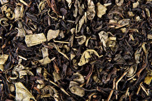 Black tea leaves texture