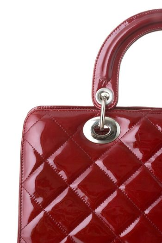 red ladies handbag isolated on  white background