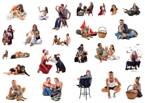 composite picture with people and dogs on a white background