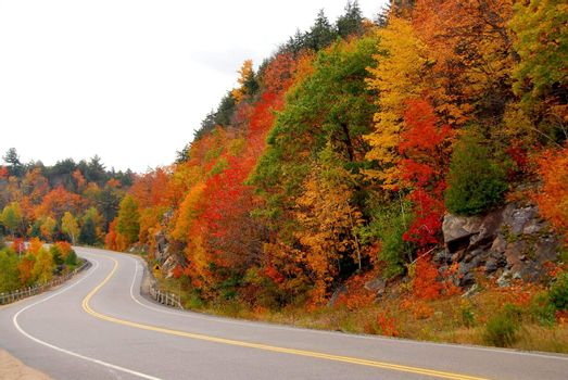Fall highway in northern Ontario, Canada