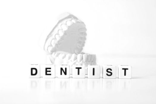 A plaster cast of teeth behind several dices that form the word dentist. All on white background.
