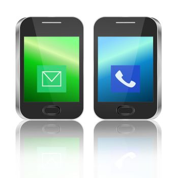 Illustration depicting two illuminated communication devices with various icon displays arranged horizontally over white background and reflecting into the foreground.