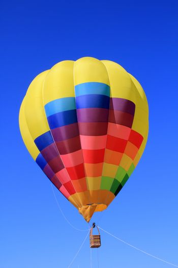 balloon colorful with vivid colors flying in blue sky