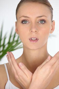 Closeup portrait of a woman in a beauty spa