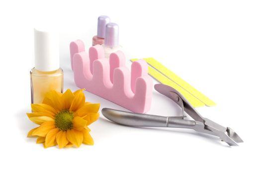 pedicure beauty set and flower cliseup