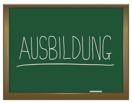 Illustration depicting a green chalkboard with  AUSBILDUNG written on it in white.