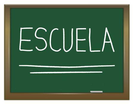 Illustration depicting a green chalkboard with ESCUELA written on it in white.