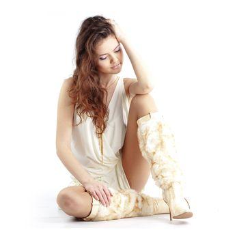 Portrait of fashion girl over white