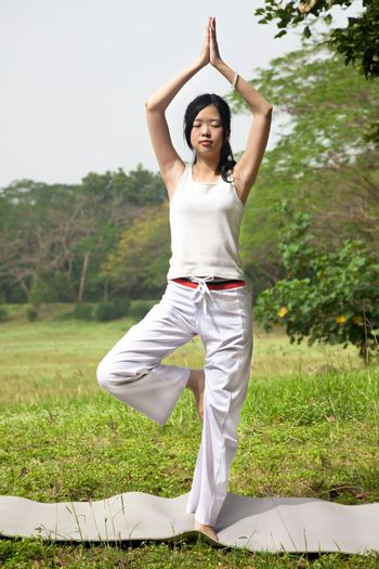 yoga woman  on the grass