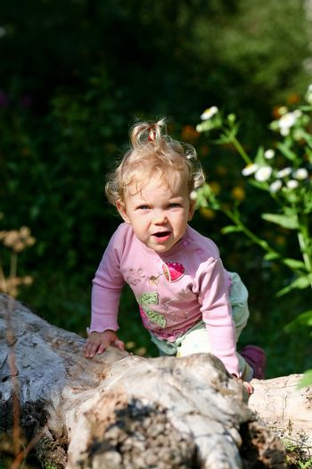 Portrait of a child. Nice baby outdoors.