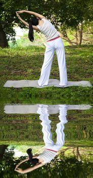yoga girl with water reflecting
