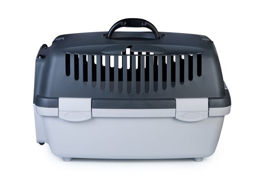 Box for transporting pets carrier on white background.