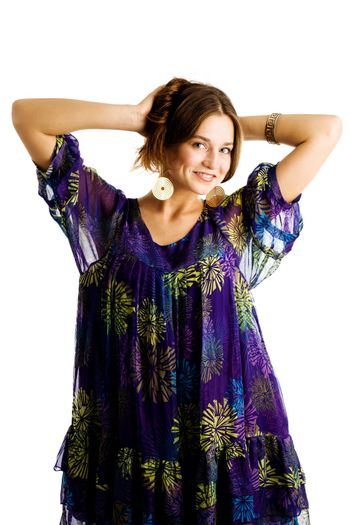 An image of a beautiful girl in violet dress