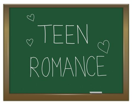 Illustration depicting a green chalkboard with a teen romance concept written on it.