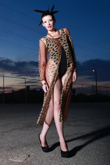 Woman in High Fashion Editorial Concept