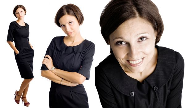 An image of a portrait of a woman in various poses